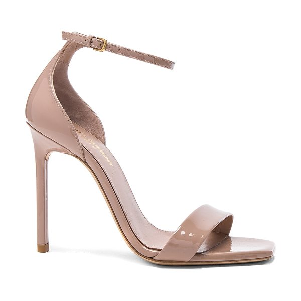 Saint Laurent Patent Amber Ankle Strap Heels in nude pink - Patent leather upper with leather sole. Made in Italy....