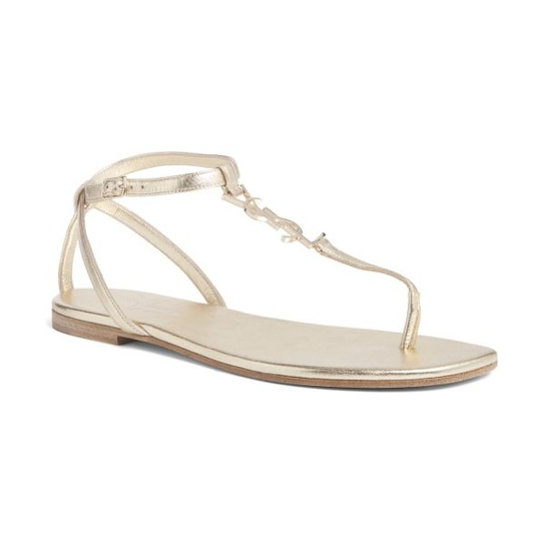 Saint Laurent pieds sandal in metallic gold - A gilded logo charm brings understated style to a...