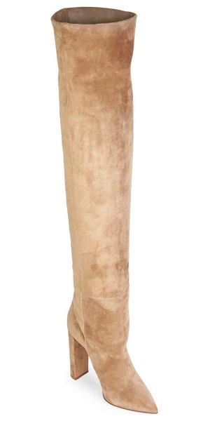 Saint Laurent point toe suede over-the-knee boots in gold - Sophisticated over-the-knee boots in soft suede. Stacked...