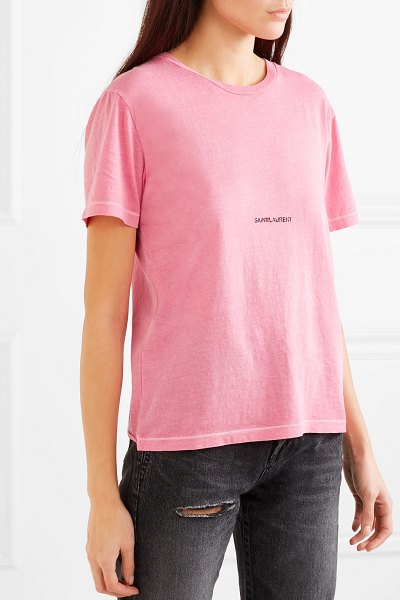 Saint Laurent printed cotton-jersey t-shirt in bright pink