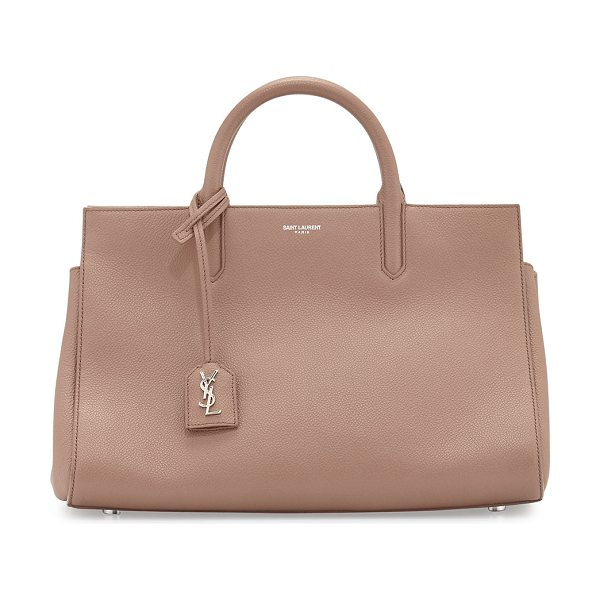 Saint Laurent Rive gauche small grain leather satchel bag in blush - Saint Laurent east-west satchel bag in grained calfskin...