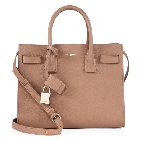 Saint Laurent baby sac de jour leather tote in tan