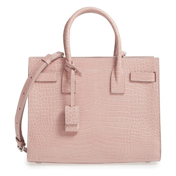 Saint Laurent baby sac de jour croc embossed calfskin leather tote in rose antique - Vibrant croc-embossed calfskin leather enriches a...