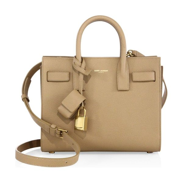 Saint Laurent sac de jour nano textured leather tote in dark beige - Building on the classic elegance of the Yves Saint...