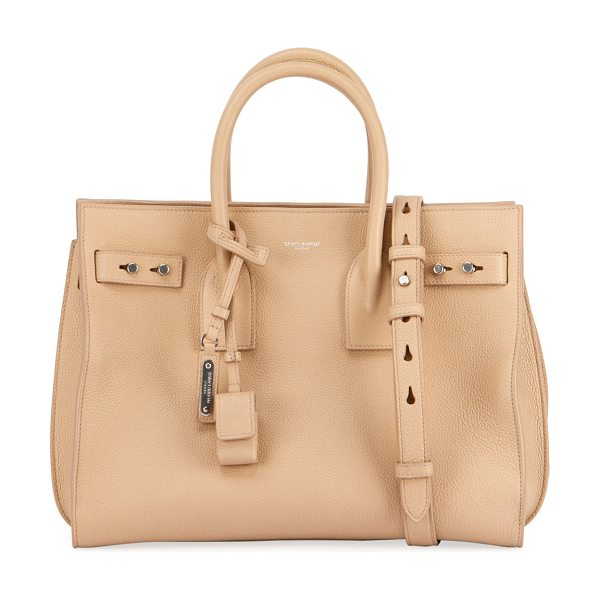 Saint Laurent Sac de Jour Small Supple Leather Bag in beige - Saint Laurent supple, smooth calfskin carryall tote bag....