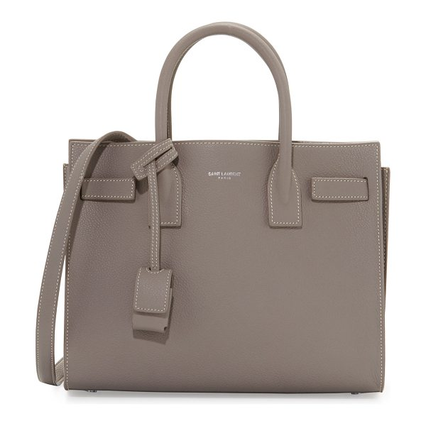 SAINT LAURENT Sac de Jour Topstitched Leather Satchel Bag in taupe - Saint Laurent calf leather satchel bag with contrast...