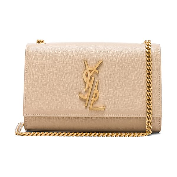 Saint Laurent Small Deconstructed Monogramme Kate Clutch in poudre - Pebbled calfskin leather with grosgrain lining and...