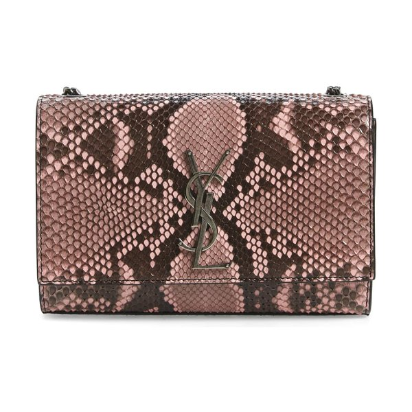 Saint Laurent small kate genuine python shoulder bag in pink