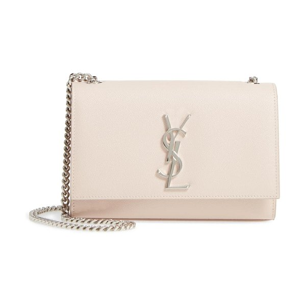 Saint Laurent small kate grained leather crossbody bag in pink