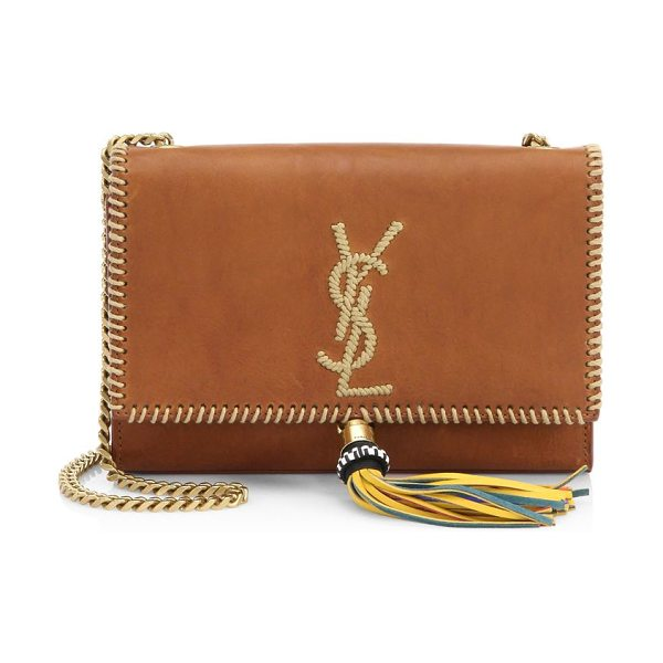 Saint Laurent small kate leather bag in cognac - Whipstitched details update classic silhouette. Shoulder...