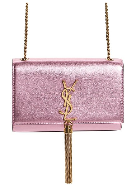 Saint Laurent small kate metallic leather crossbody bag in pink