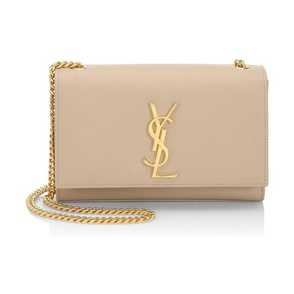Saint Laurent small kate monogram leather chain shoulder bag in darkbeige - Iconic chain style in pebble leather with polished YSL....