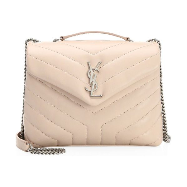 SAINT LAURENT small lou lou chain strap shoulder bag in marblepink - Iconic logo adorns signature quilted bag. Top handle....