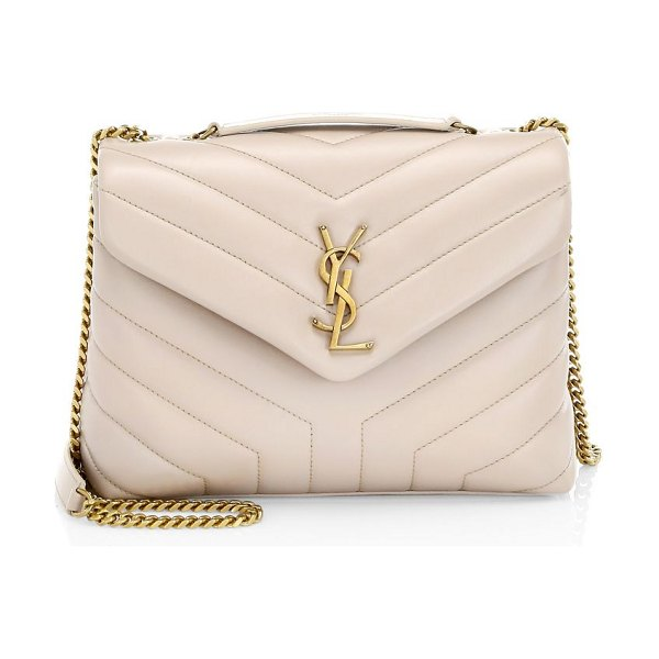 Saint Laurent small lou lou chevron quilted leather crossbody bag in natural - Quilted leather bag with iconic YSL logo. Top handle....