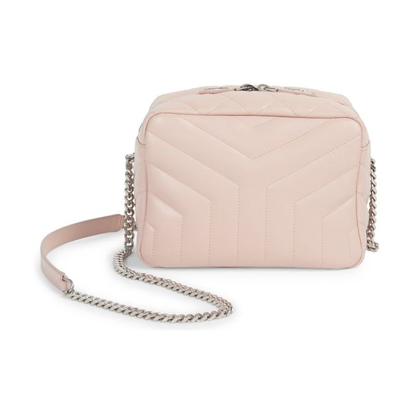 Saint Laurent small lou lou leather camera bag in marblepink