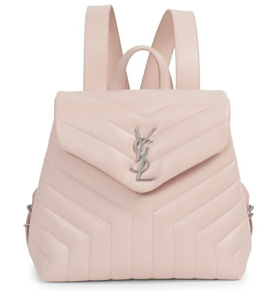 Saint Laurent lou lou leather backpack with silver hardware in palerose