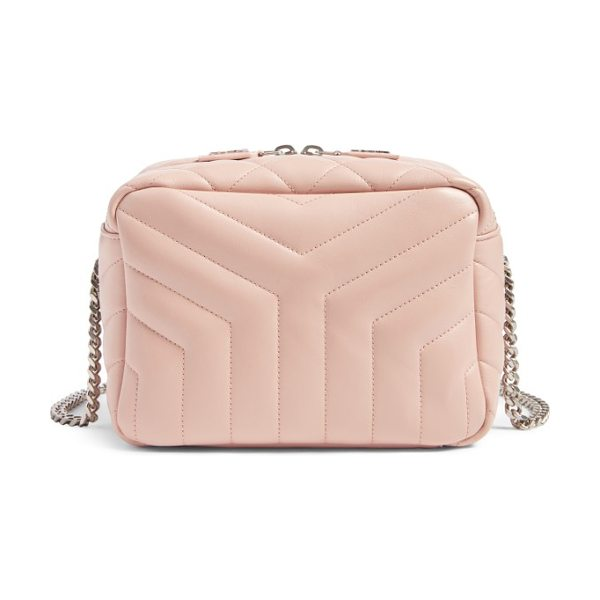 Saint Laurent small loulou leather bowling bag in pale pink - The classic interlocking YSL monogram in antiqued...