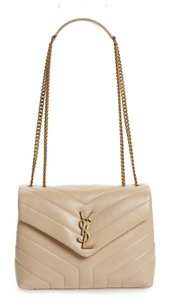 Saint Laurent small loulou leather shoulder bag in beige