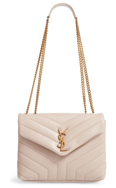 Saint Laurent small loulou leather shoulder bag in beige - Inspired by and named for Yves Saint Laurent's muse...