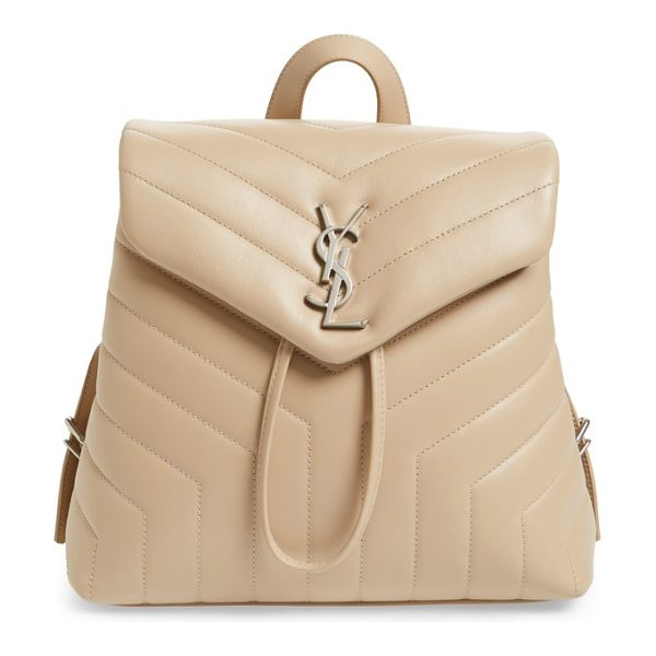Saint Laurent small loulou quilted calfskin leather backpack in poudre - Exquisite matelasse stitching, buttery-soft calfskin...