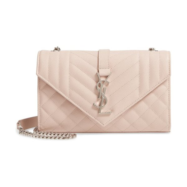 Saint Laurent small mono calfskin leather shoulder bag in pink
