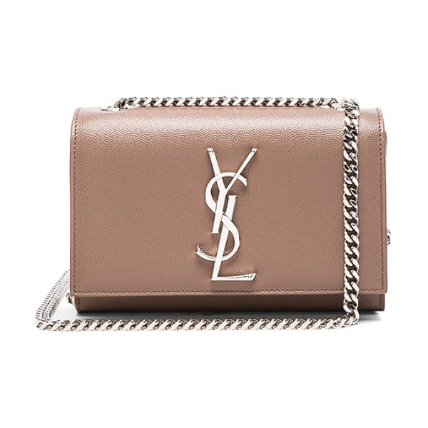 SAINT LAURENT Small Monogramme Kate Chain Bag in neutrals - Pebbled calfskin leather with grosgrain lining and...
