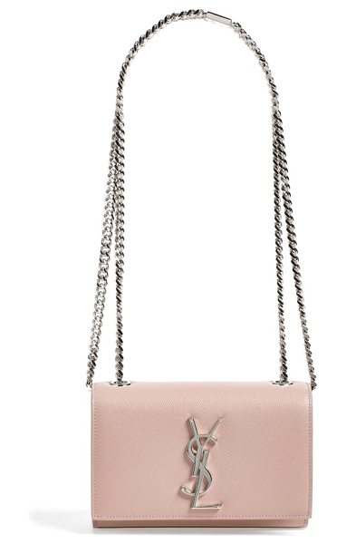 Saint Laurent Small monogram leather crossbody bag in rose cendre - Softly grained calfskin illuminates an exquisite...