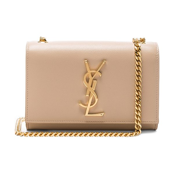 Saint Laurent Small Monogramme Chain Bag in neutrals - Pebbled calfskin leather with grosgrain lining and...