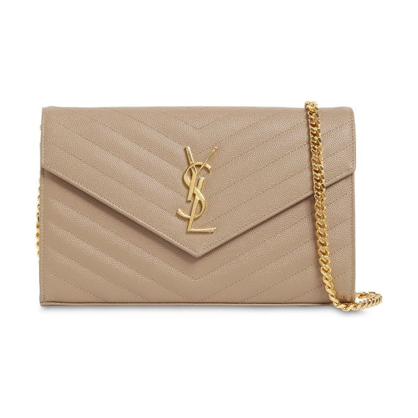 Saint Laurent Small quilted monogram leather bag in taupe - Height: 12.5cm Width: 19cm Depth: 3.5cm. Shoulder strap...