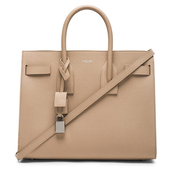 SAINT LAURENT Small sac de jour - Pebbled calfskin leather with bonded smooth leather...