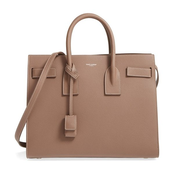 Saint Laurent small sac de jour calfskin leather tote in taupe/white - Impeccable tonal topstitching details the finely pebbled...