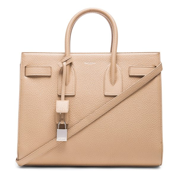 SAINT LAURENT Small sac de jour carryall bag in neutrals - Pebbled calfskin leather with grosgrain lining and...