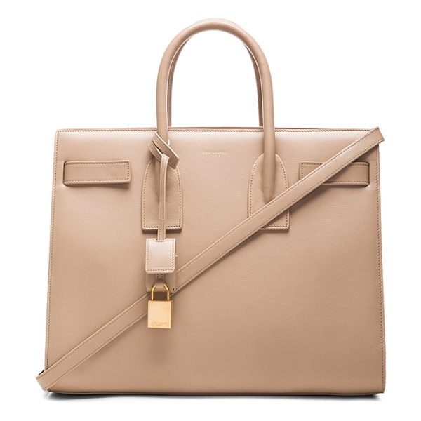 Saint Laurent Small sac de jour carryall bag in neutrals - Smooth calfskin leather with suede lining and gold-tone...
