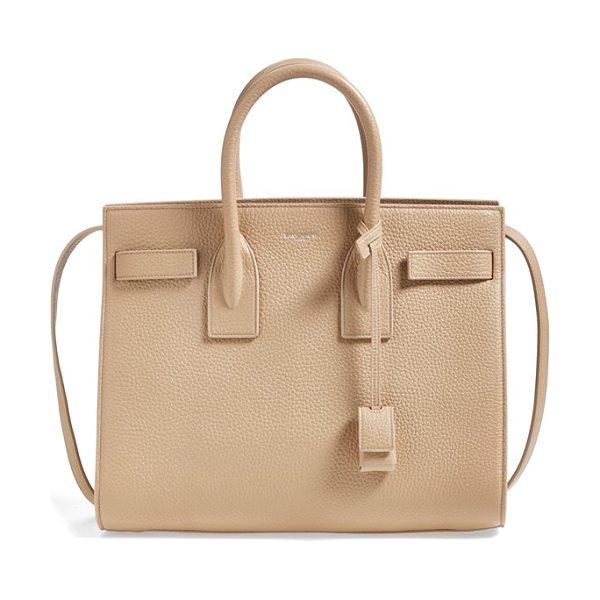 Saint Laurent Small sac de jour grained leather tote in dark beige - Lush grained calfskin enriches a signature tote designed...