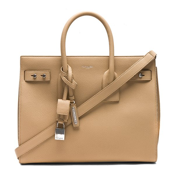 "Saint Laurent Small Supple Sac de Jour in neutrals - ""Supple calfskin leather with suede and brushed..."