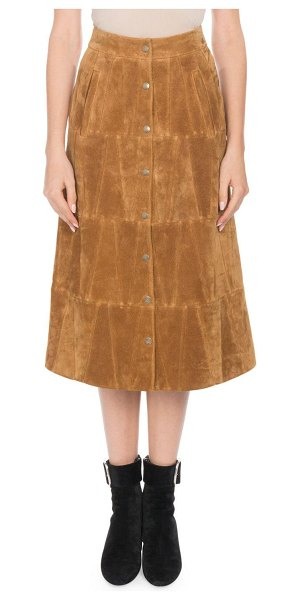 Saint Laurent Snap-Front Calfskin Suede Midi Skirt in camel - Saint Laurent calfskin suede skirt. Sits at natural...