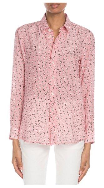 Saint Laurent Star-Print Classic Silk Blouse in pink pattern