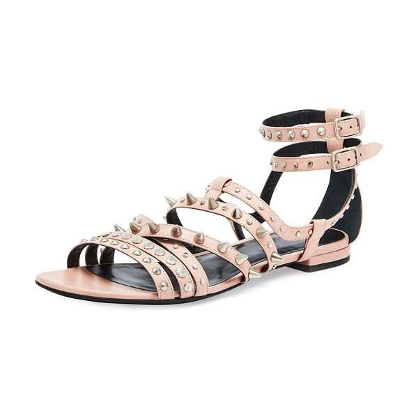 SAINT LAURENT Strappy Studded Flat Sandal - Saint Laurent strappy calfskin sandal. Round and cone...