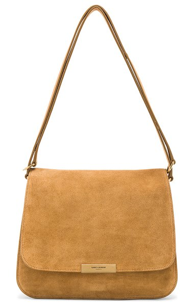 """Saint Laurent Suede Amalia Satchel in neutrals - """"Calfskin suede with raw lining and brushed gold-tone..."""
