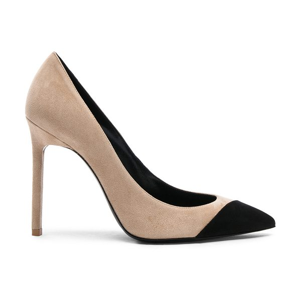 Saint Laurent Suede Anja Cap Toe Pumps in neutrals - Suede upper with leather sole.  Made in Italy.  Approx...