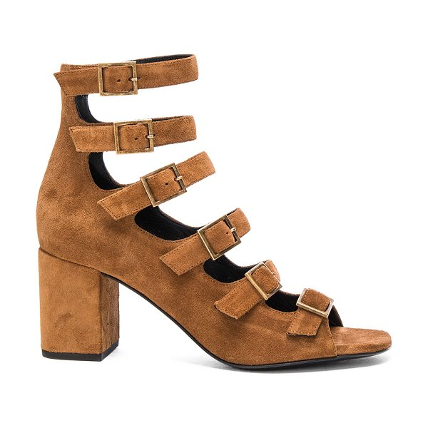 Saint Laurent Suede Babies Buckle Sandals in brown - Suede upper with leather sole.  Made in Italy.  Approx...