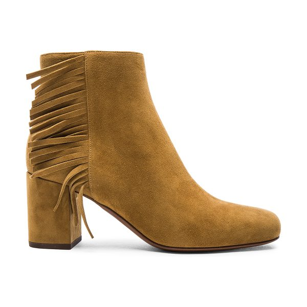 Saint Laurent Suede Babies Fringe Zip Boots in brown - Suede upper with leather sole.  Made in Italy.  Approx...