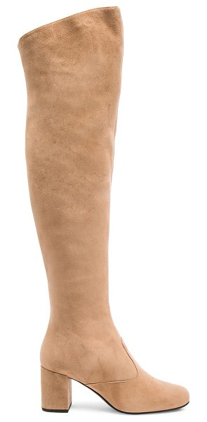 Saint Laurent Suede BB Thigh High Boots in neutrals - Suede upper with leather sole.  Made in Italy.  Shaft...