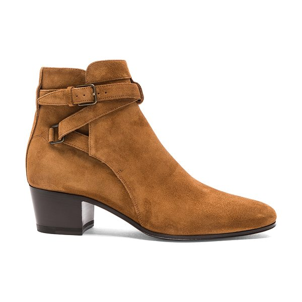 Saint Laurent Suede Blake Boots in brown - Suede upper with leather sole.  Made in Italy.  Approx...