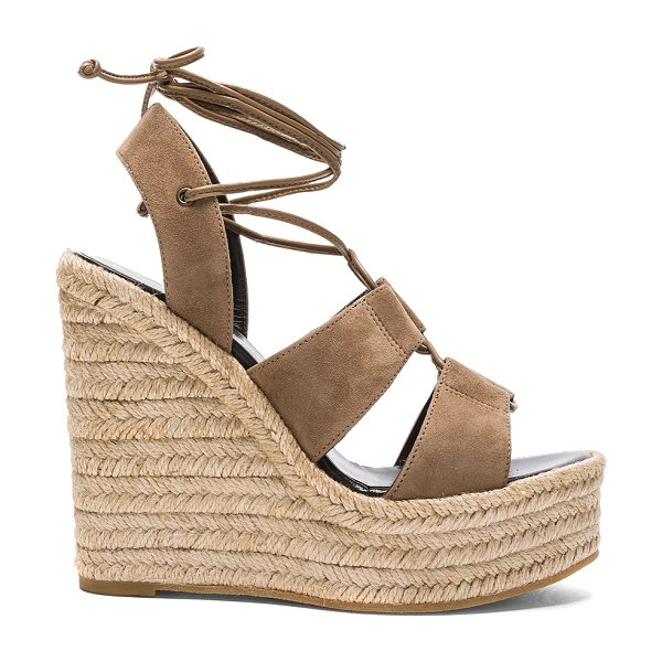 Saint Laurent Suede Espadrille Wedges in cigar - Suede upper with rubber sole. Made in Spain. Approx...
