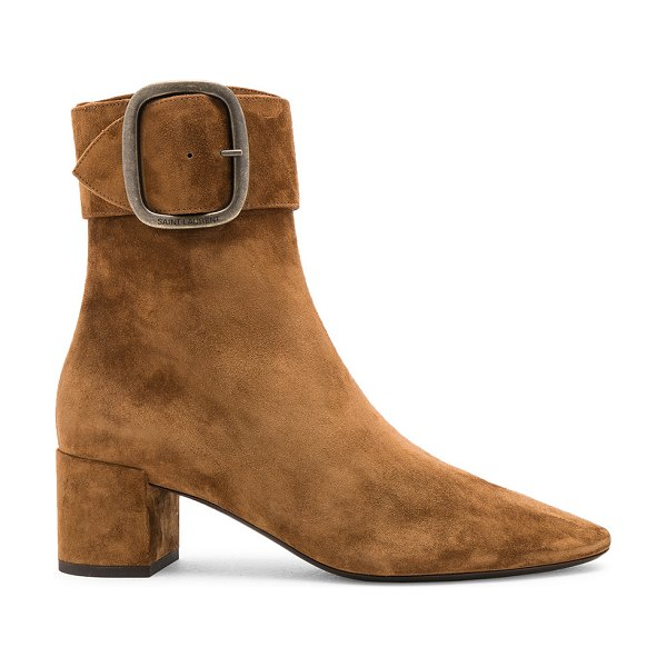Saint Laurent Suede Joplin Buckle Ankle Boots in brown - Suede upper with leather sole.  Made in Italy.  Shaft...