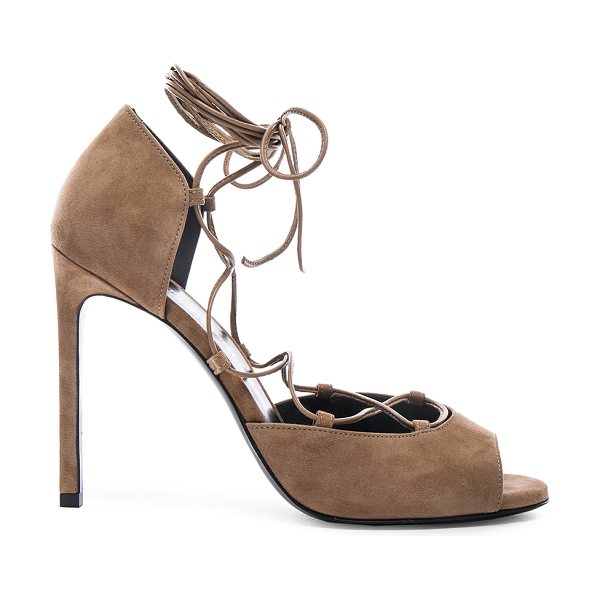 Saint Laurent Suede Kate Lace Up Heels in brown - Suede upper with leather sole.  Made in Italy.  Approx...