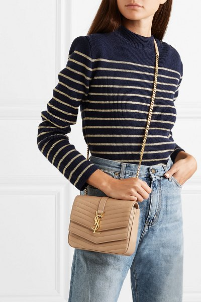 Saint Laurent sulpice small quilted leather shoulder bag in beige