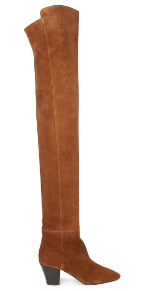 Saint Laurent sun over-the-knee suede boots in tan