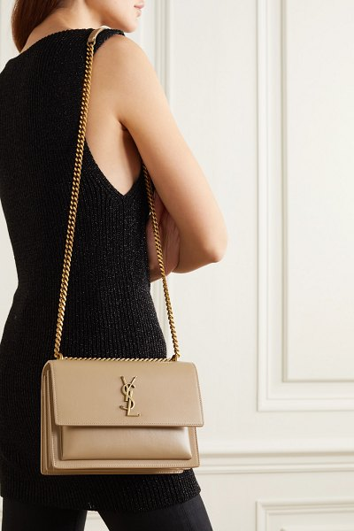 Saint Laurent sunset medium leather shoulder bag in beige